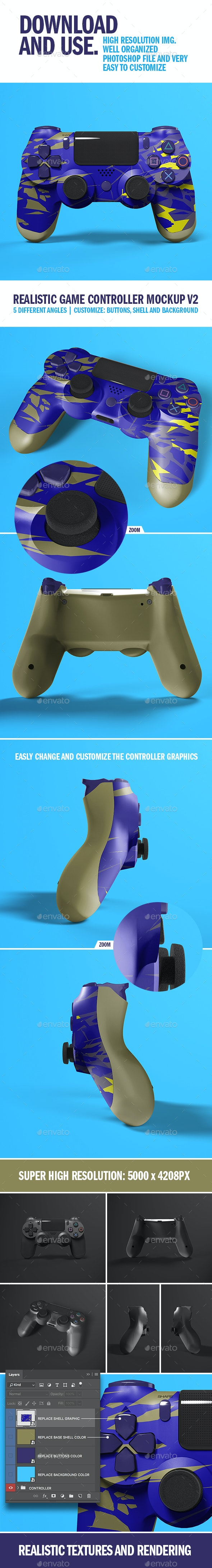Realistic Game Controller Mockup V2 - Product Mock-Ups Graphics