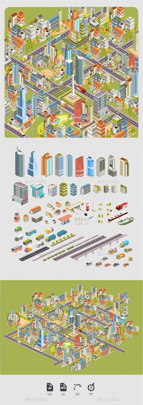City Landscape Isometric - Buildings Objects