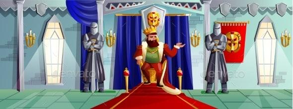 Castle Room Vector Cartoon Illustration - People Characters