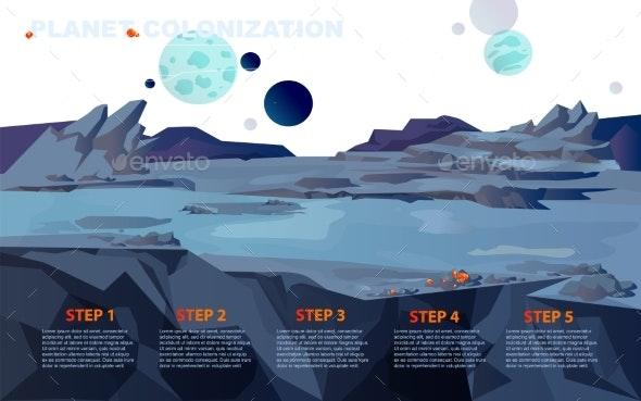 Space Landscape for Planet Colonization Vector - Landscapes Nature