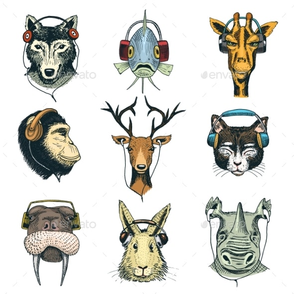 Animal Head in Headphones Vector Animalistic - Animals Characters