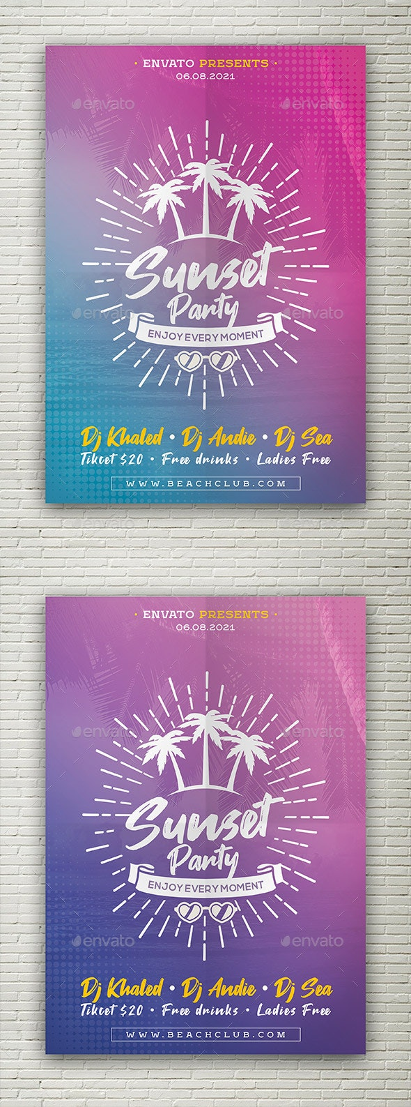 Sunset Party flyer - Events Flyers