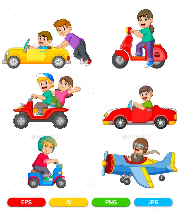 Collection of Children Driving Vehicles - People Characters