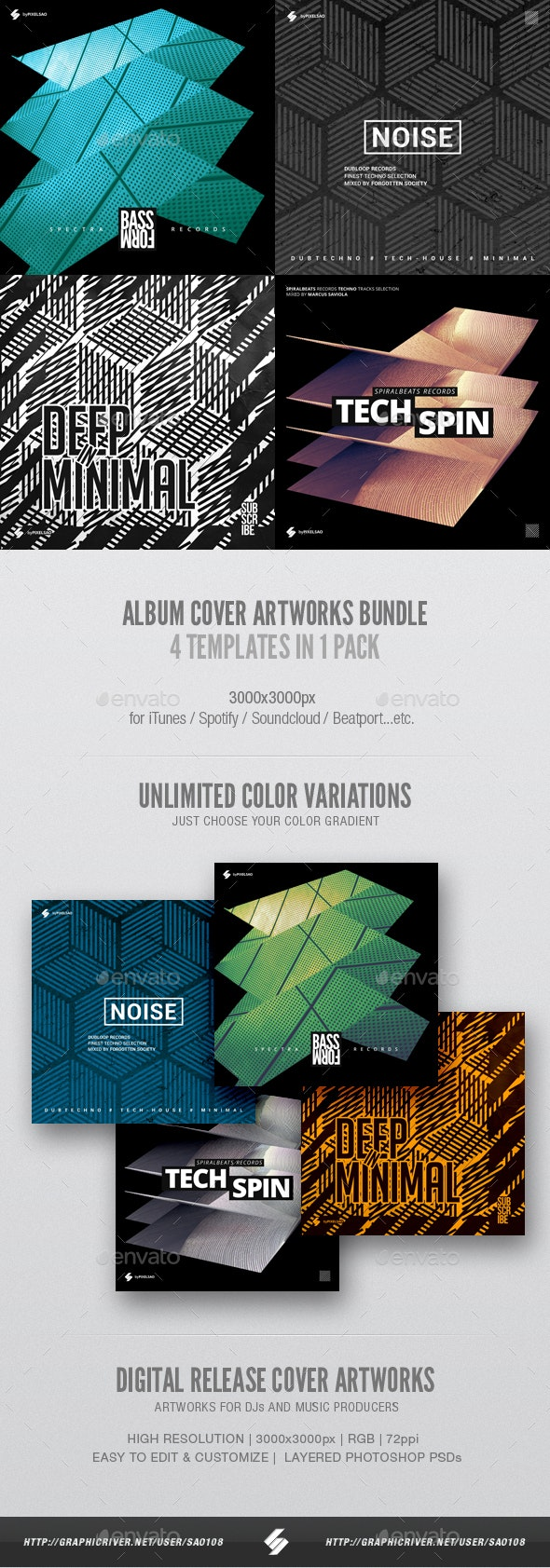 Electronic Music Album Cover Artwork Templates Bundle 12 - Miscellaneous Social Media
