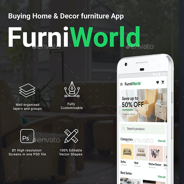 Online Furniture Buying App UI Kit | FurniWorld