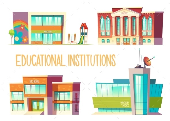 Kindergarten, School, State and Science University - Buildings Objects