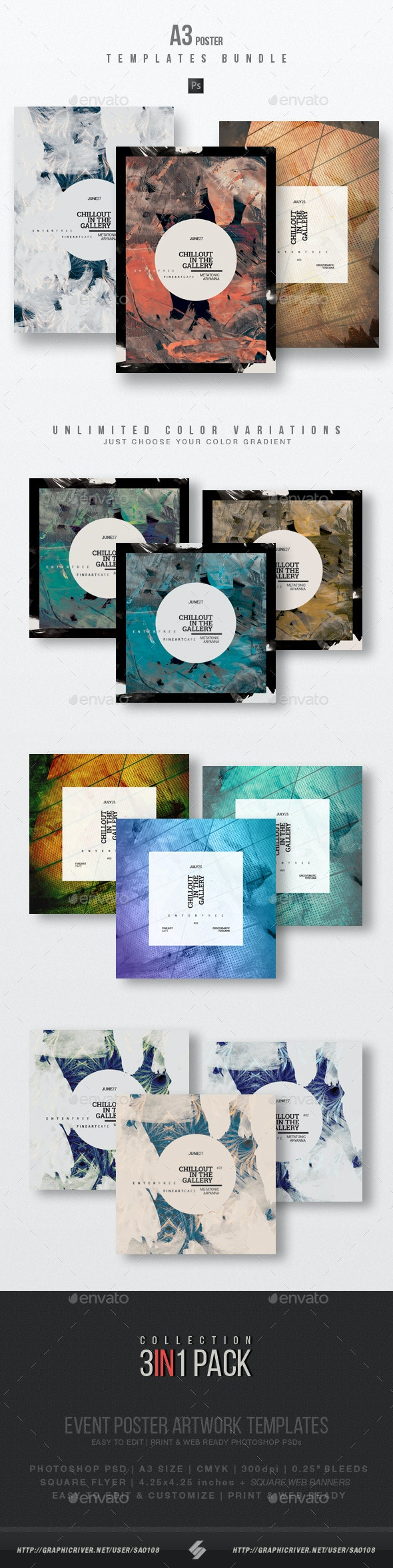 Chillout Session vol.3 - Party Flyer / Poster Templates Bundle - Clubs & Parties Events