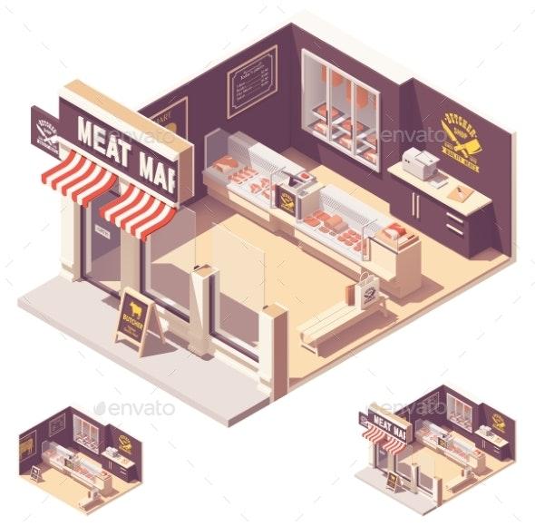 Vector Isometric Butcher Shop Interior - Objects Vectors