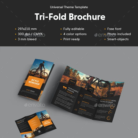 Universal Tri-Fold Brochure With Diagonal Design Elements
