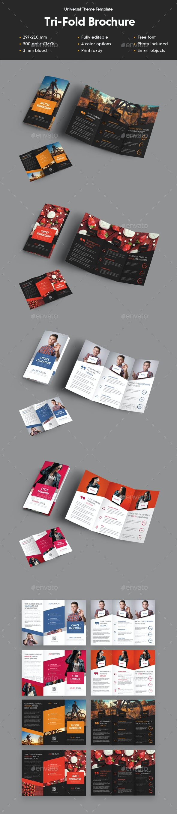 Universal Tri-Fold Brochure With Diagonal Design Elements - Brochures Print Templates