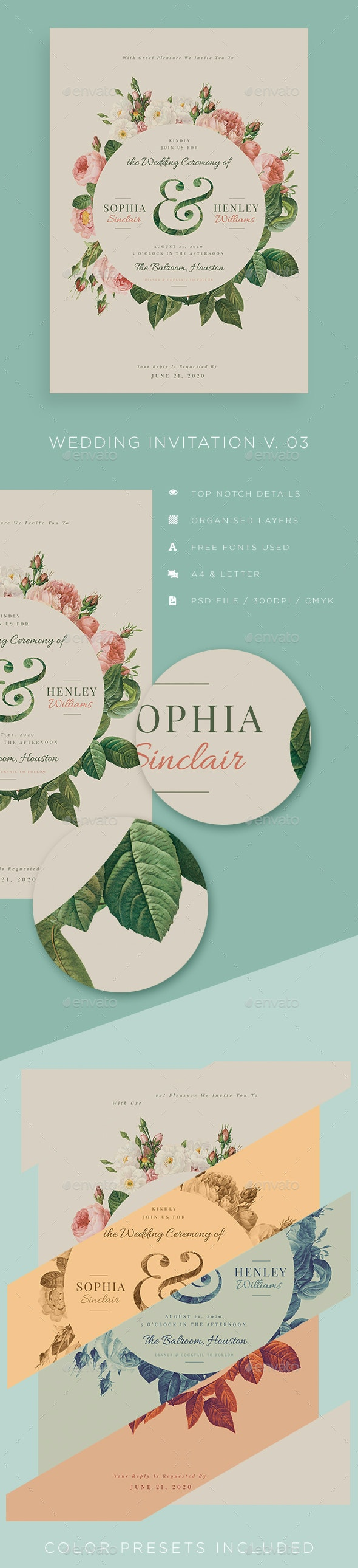 Wedding Invitation V03 - Cards & Invites Print Templates