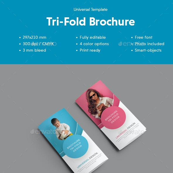 Universal Tri-Fold Brochure With Round Design Elements