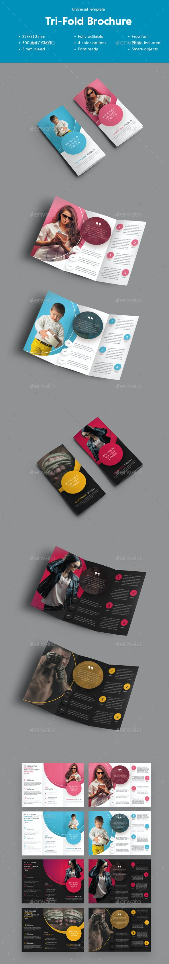 Universal Tri-Fold Brochure With Round Design Elements - Brochures Print Templates
