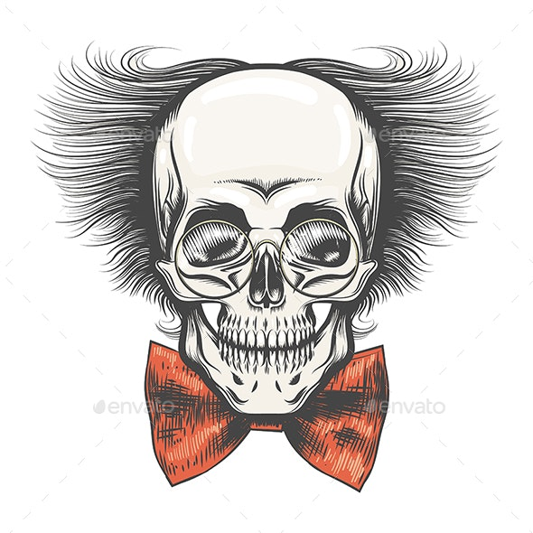 Human Skull in Professor Glasses and Red Bow Tie - Tattoos Vectors