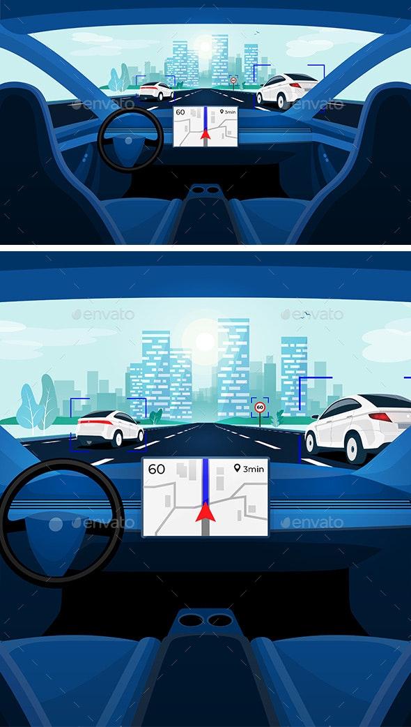 Autonomous Smart Driverless Car Self Driving - Travel Conceptual