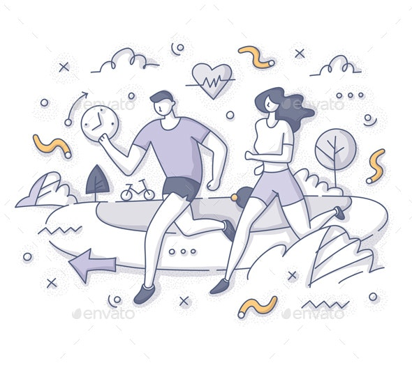 Running Together Outdoor Concept - Sports/Activity Conceptual