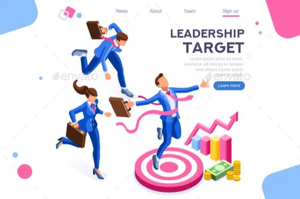 Target Foward Leadership Concept - People Characters