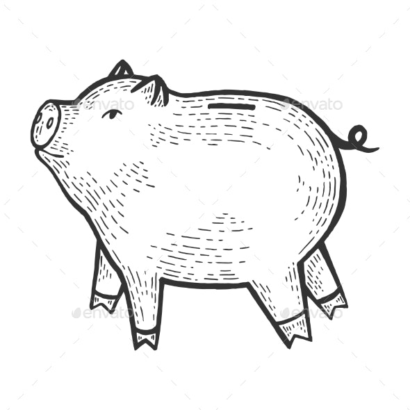 Piggy Bank Sketch Engraving Vector - Animals Characters
