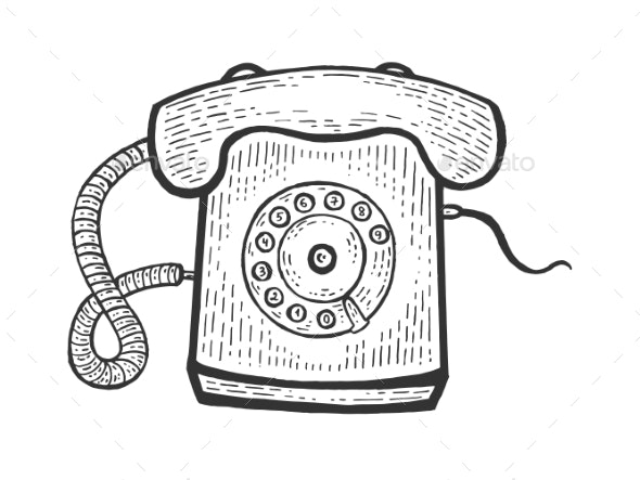 Old Rotary Dial Phone Sketch Engraving Vector - Miscellaneous Vectors