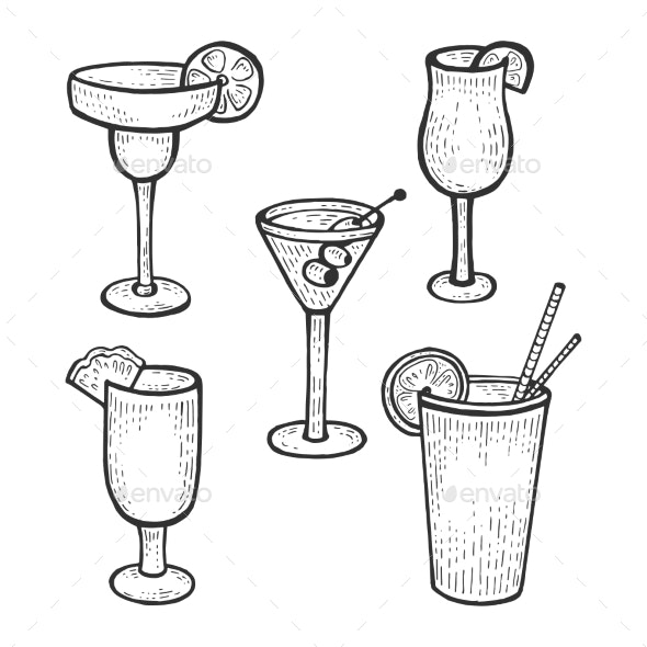 Cocktail Glasses Set Sketch Engraving Vector - Food Objects