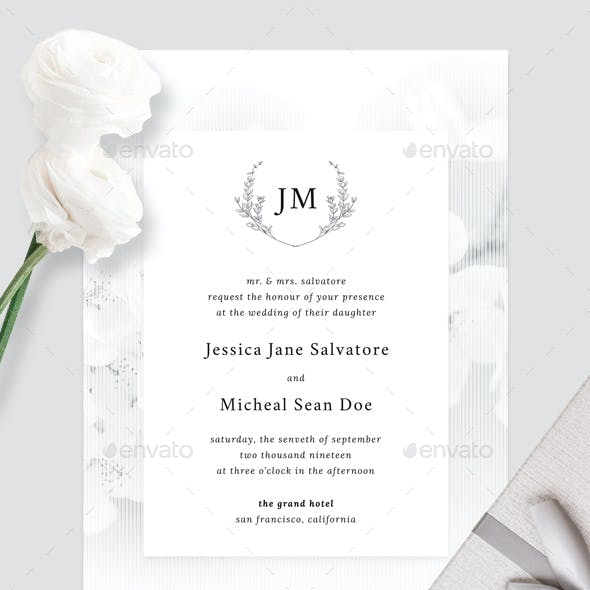 White Elegance Wedding Invitation