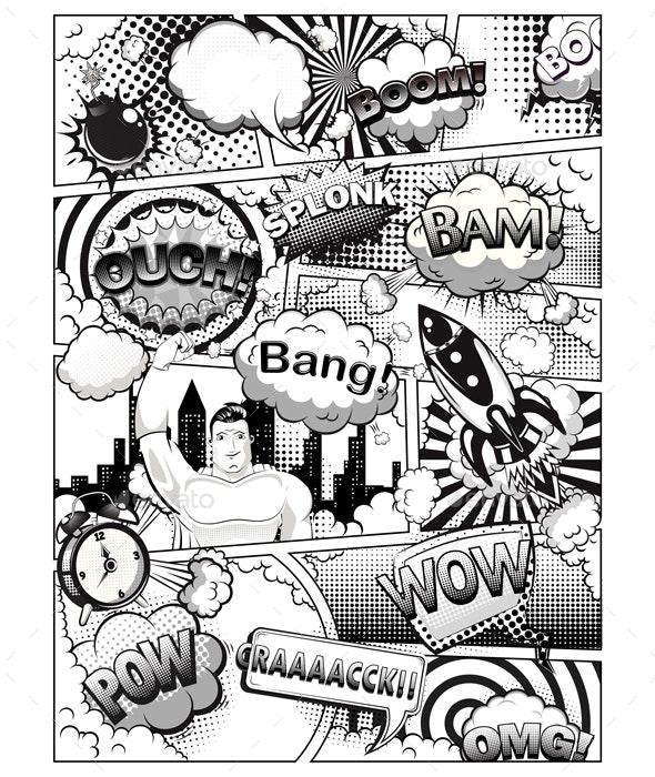 Black and White Comic Book Page - Decorative Symbols Decorative