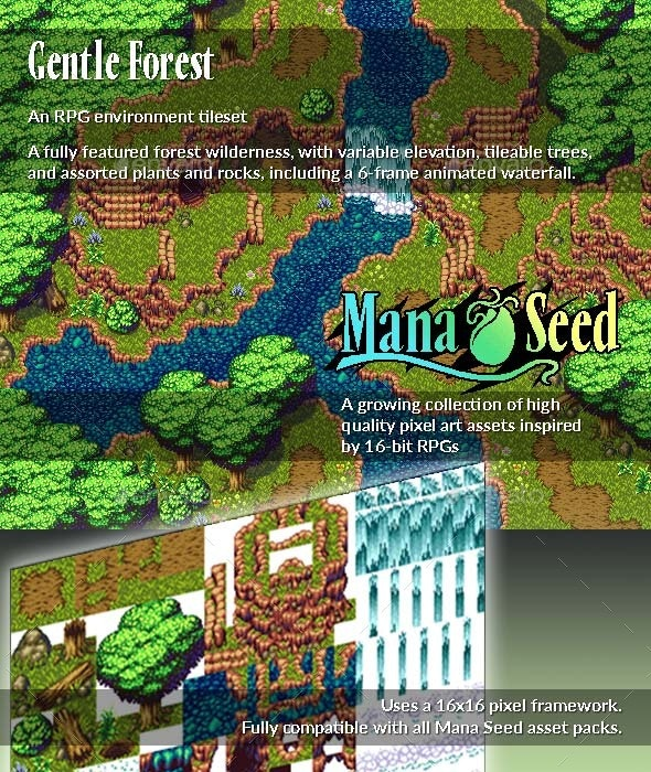 Gentle Forest - Pixel Art Asset - Tilesets Game Assets