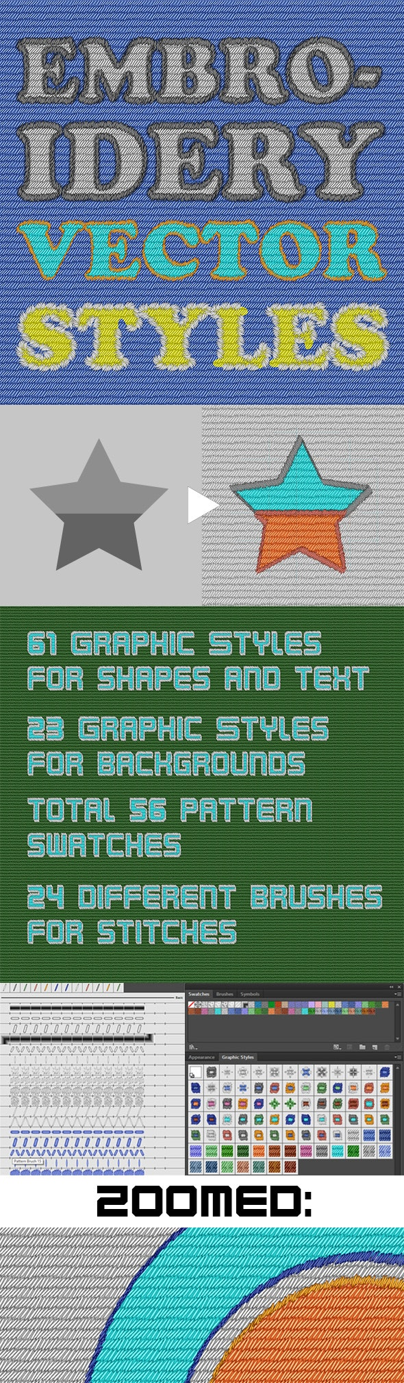 Vector Embroidery Illustrator Graphic Styles - Styles Illustrator