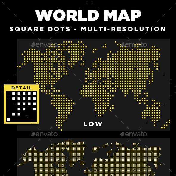World Map Square Dots Multi-Resolution