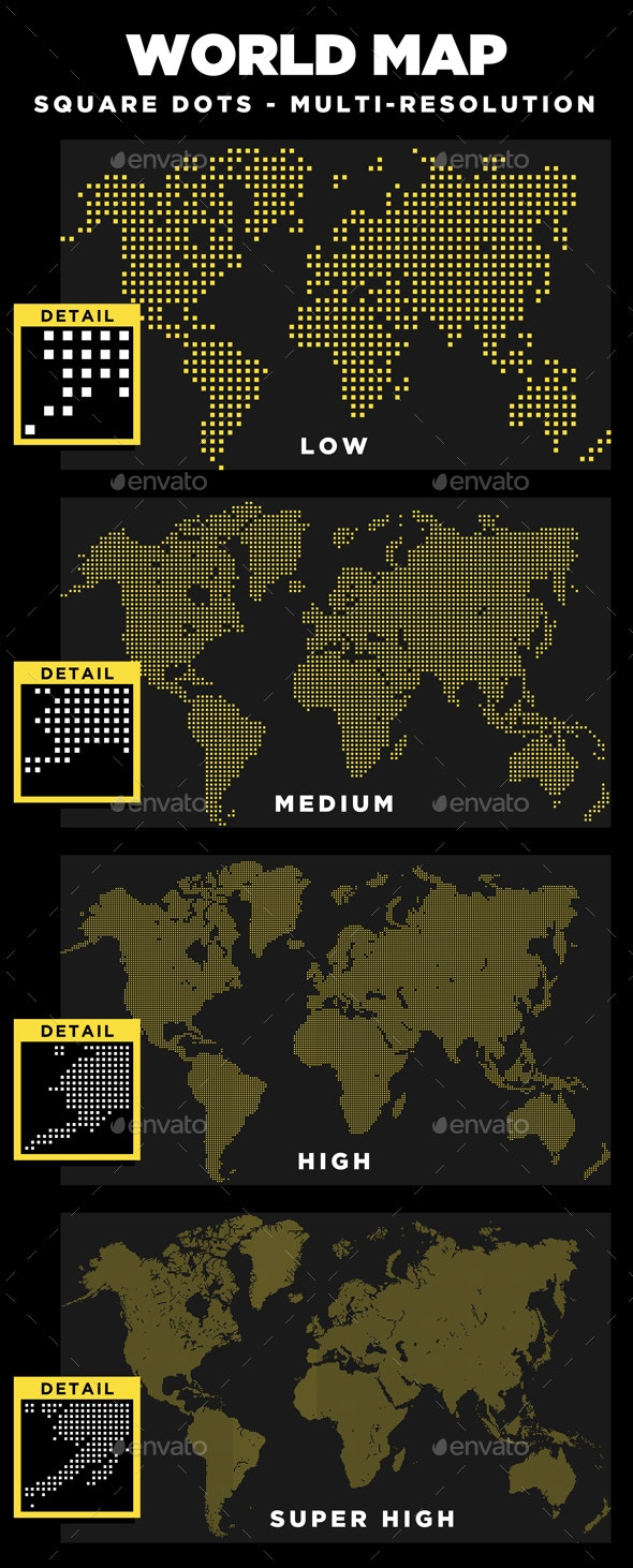 World Map Square Dots Multi-Resolution - Abstract Conceptual
