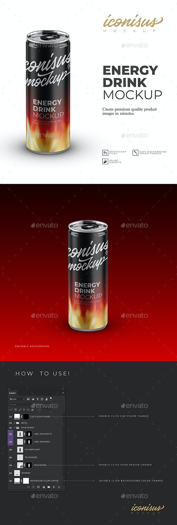 Energy Drink Mockup Template - Food and Drink Packaging