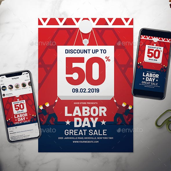 Labor Day Sale Flyer Set