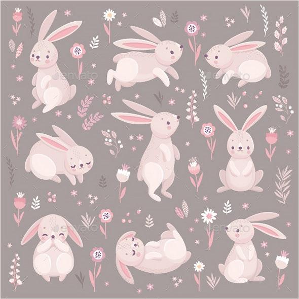 Rabbits Sleeping, Running, Sitting. - Animals Characters