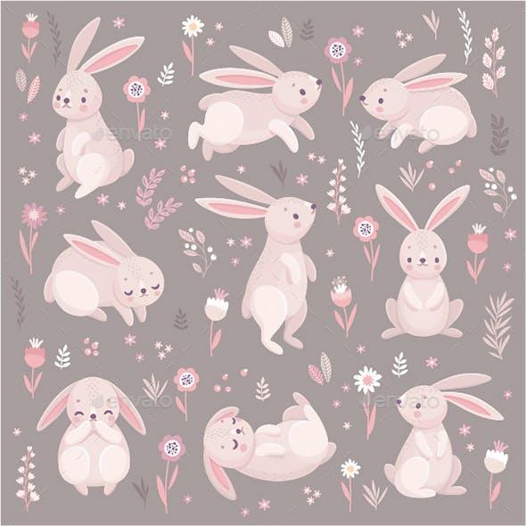 Rabbits Sleeping, Running, Sitting.