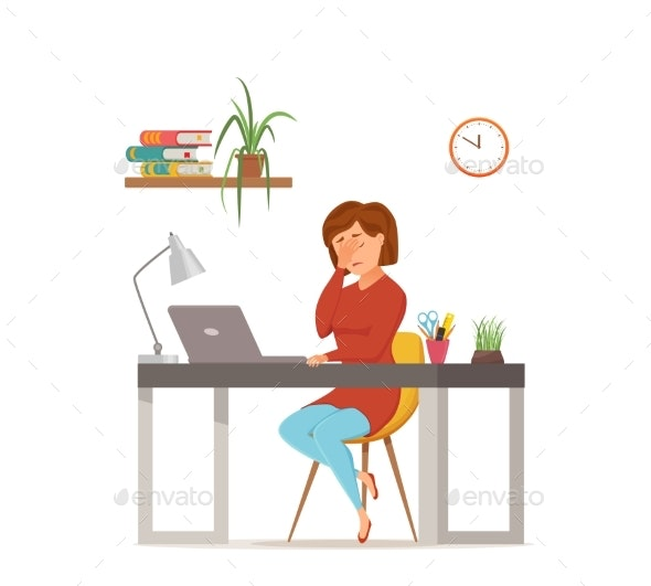 Woman Busy Tired Working on Computer - Concepts Business