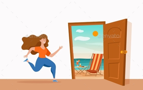 Girl Runs to Open Door Summer Sun Beach Sea Vector - People Characters