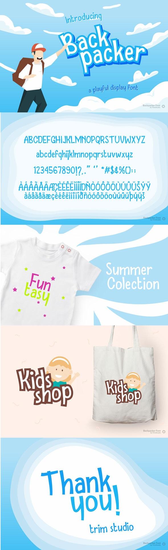 Backpacker - Fun Display Font - Holiday Decorative