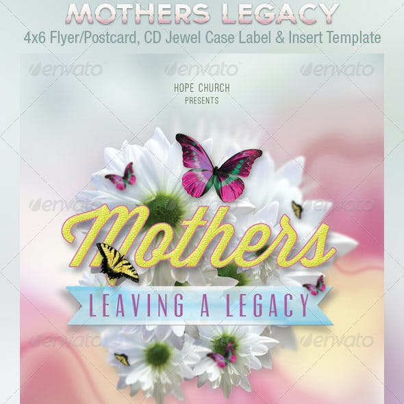 Mothers Legacy Church Flyer Postcard CD Template
