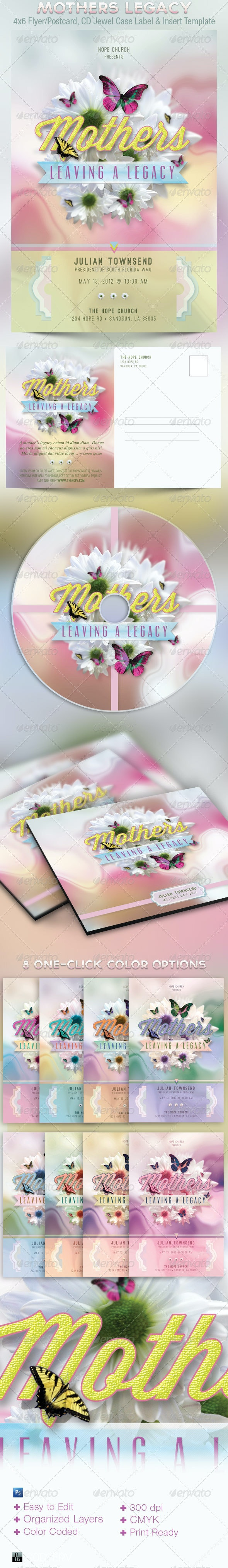 Mothers Legacy Church Flyer Postcard CD Template - Church Flyers