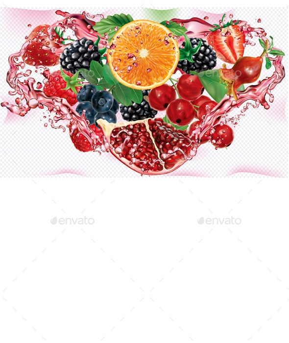 Berries and Citrus Mix into of Splashes of Juices in Triangular Composition - Food Objects
