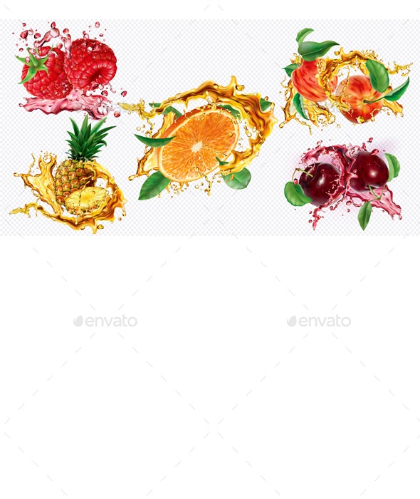 Berries and Tropical Fruits in Splashes and Spray of Juice - Food Objects