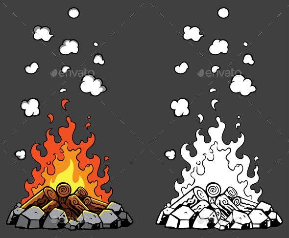 Campfire Cartoon Set - Miscellaneous Vectors