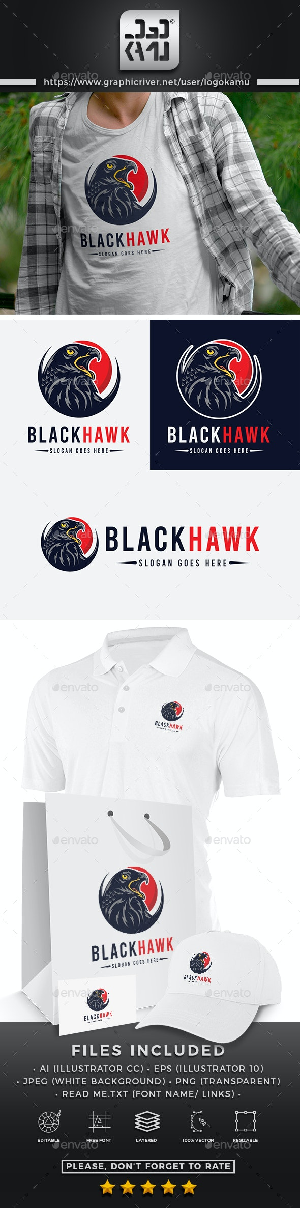 Black Hawk Logo - Animals Logo Templates