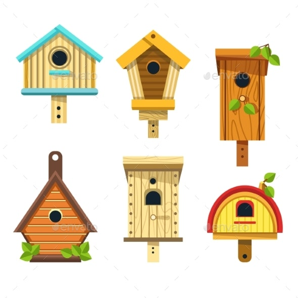 Nesting Boxes or Birdhouses Isolated Icons Wooden - Flowers & Plants Nature