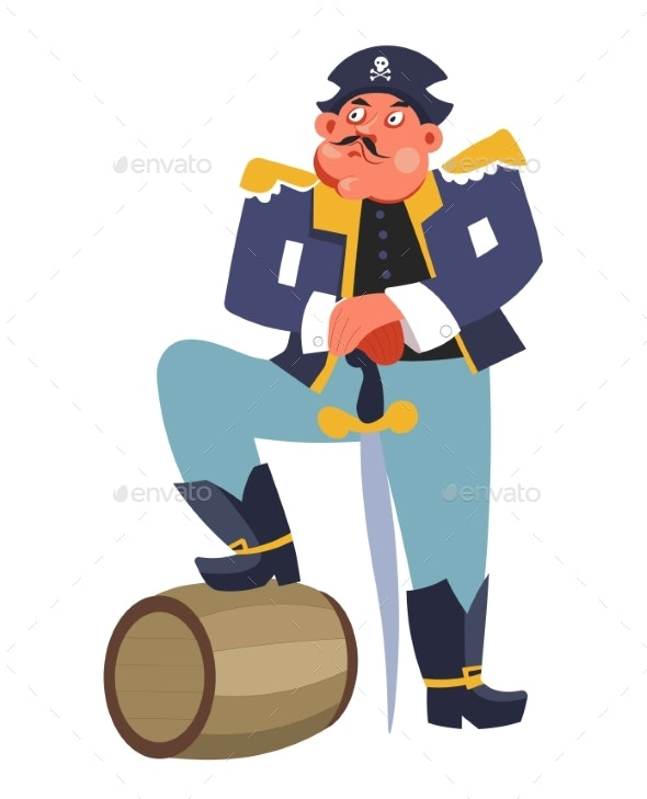 Criminal Pirate with Rum Barrel and Sword Ship - People Characters