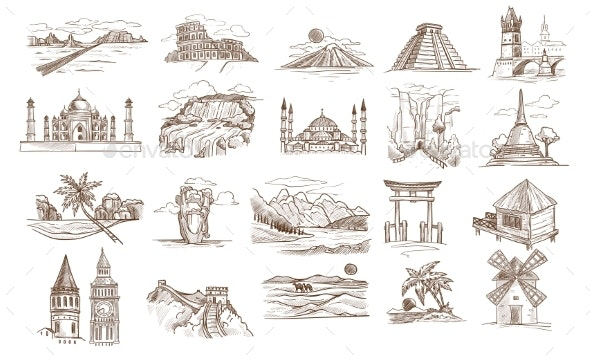 World Sights and Famous Landmarks Isolated - Buildings Objects