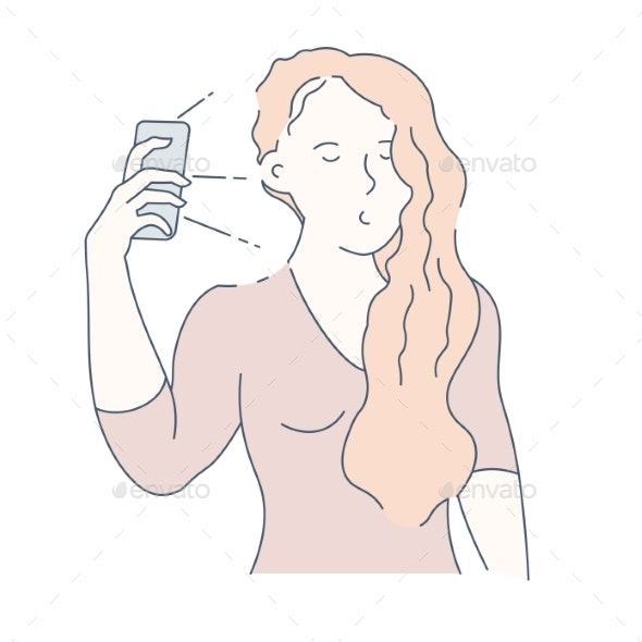 Selfie and Frontal Camera Girl with Smartphone - People Characters