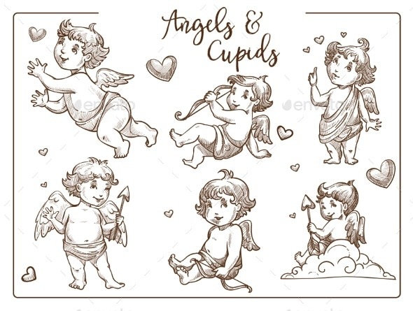 Valentine Day Cupids and Angels with Wings - Valentines Seasons/Holidays