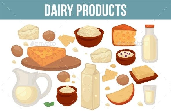 Farm Food Dairy Product Milk and Cheese Organic - Food Objects