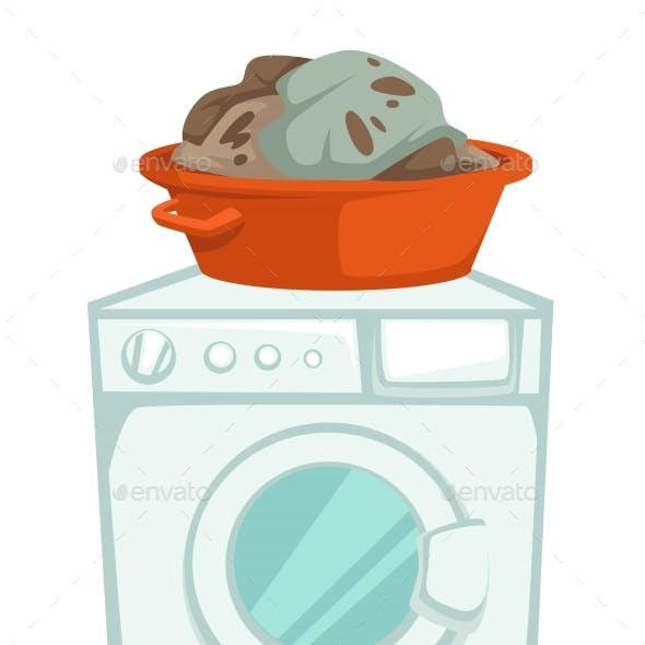 Washing Machine and Dirty Clothes in Basin